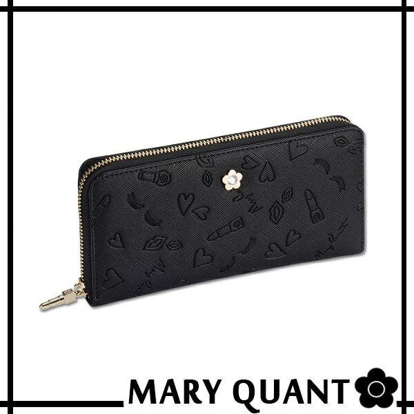 マリークワント MARY QUANT(マリクワ)(マリークアント) 財布 ランダムコスメプレス パース ラウンドジップ 長財布 ブラック