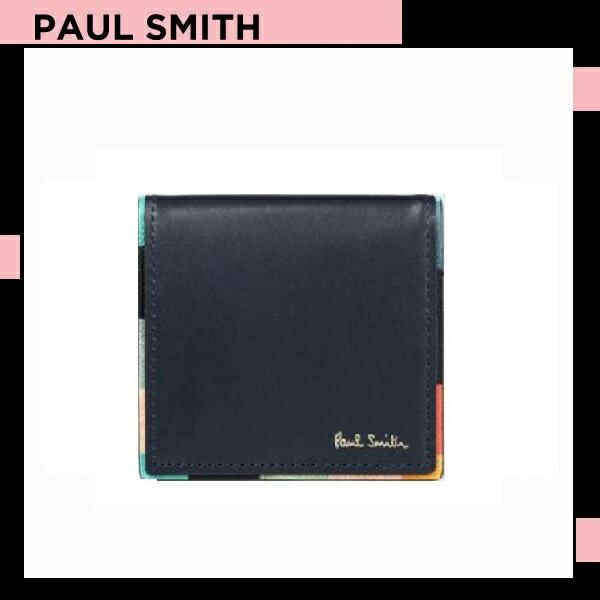ポールスミス Paul Smith メンズ 財布 長財布 アーティスト ストライプ コインケース 小銭入れ ネイビー 送料無料 代引き料有料 消費税込