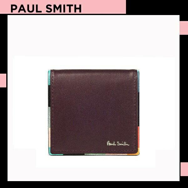 ポールスミス Paul Smith メンズ 財布 長財布 アーティスト ストライプ コインケース 小銭入れ バーガンディー 送料無料 代引き料有料 消費税込