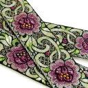 ヴィンテージ刺繍リボン(花茎) 1.4m ★少々ほつれあり