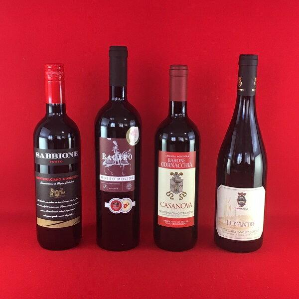 【送料無料】イタリアワイン モンテプルチアーノ 赤ワイン 飲み比べ 4本セット
