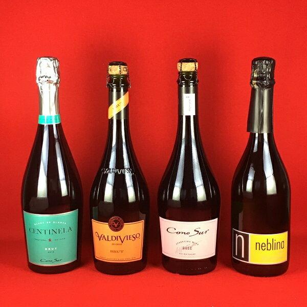ワインセット 送料無料 人気のチリワイン スパークリングワイン 飲み比べ 4本セット