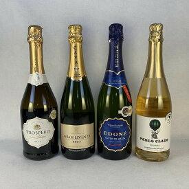 ワインセット 送料無料 大人気 スペイン スパークリングワイン 飲み比べ 4本セット