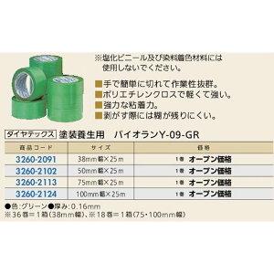 【3/7迄!限定クーポン配布中】養生テープ パイオランY-09-GR 幅50mm グリーン ダイヤテックス