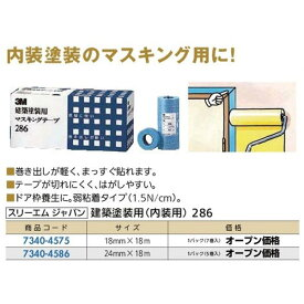 【月末限定2%OFFクーポン配布中】マスキングテープ 建築塗装用内装用286B サイズ21mm×18m 1パック