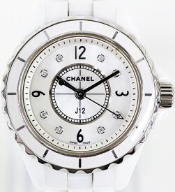 【時計】 CHANEL J12 シャネル レディース腕時計 8Pダイヤ シェル文字盤 ホワイト セラミック Cal 956102 2019.10/5 電池交換済み 【中古】