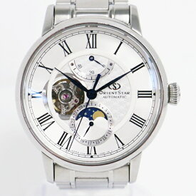 【時計】ORIENT STAR オリエントスター EPSON F7X6-UAA0 自動巻き 裏スケ メカニカルムーンフェイズ 腕時計付属品有り 【中古品】(H1)