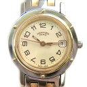 【時計】HERMES エルメス クリッパー CL4.220 ゴールド文字盤 QZ SS GP レディース 電池交換済【中古】
