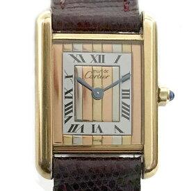【時計】Cartier カルティエ マストタンク ヴェルメイユ 925 スリーゴールド ストライブ 電池交換済【中古】