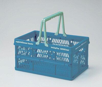 【ブルー】ピクニックル 折りたたみコンテナ Lサイズ《丸和貿易》