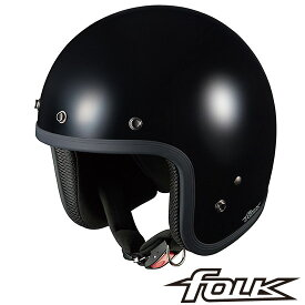 OGK FOLK (フォーク) スモールジェット ヘルメット 【ブラック】