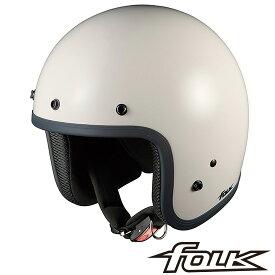 OGK FOLK (フォーク) スモールジェット ヘルメット 【オフホワイト】