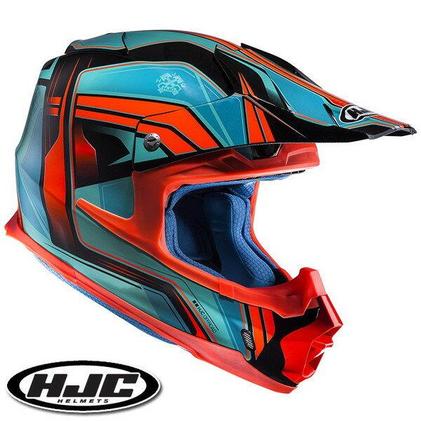 HJC FG-MX ピストン オフロードヘルメット 【アクア/オレンジ L(59-60cm):HJH125 PISTON】