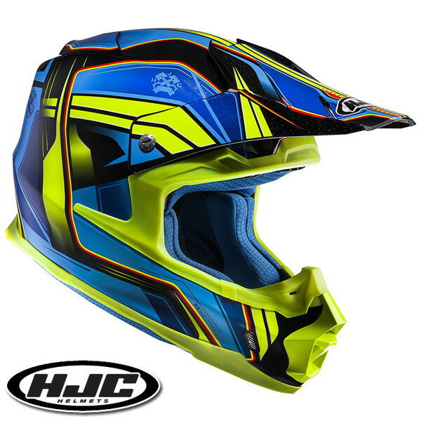 HJC FG-MX ピストン オフロードヘルメット 【ブルー/イエロー S(55-56cm):HJH125 PISTON】