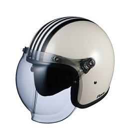 OGK ROCK G1(ロック・ジーワン) スモールジェット ヘルメット 【ホワイトブラック フリーサイズ(57-59cm)】