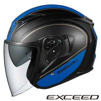 OGKEXCEEDDELIE【フラットブラックブルーXLサイズ】エクシードデリエジェットヘルメット