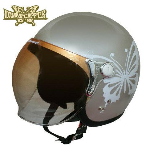 ダムフラッパー NEW CHEER BUTTERFLY 【グレーベージュ レディースフリー(57-58cm)】 ニューチアーバタフライ ジェットヘルメット