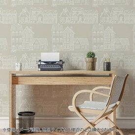 菊池襖紙工場 貼ってはがせてのり残りしない壁紙 北欧シリーズ 90cm×2.5m 家並 JK9056