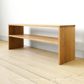 【受注生産商品】幅110cmナラ材ナラ無垢材オイル仕上げ木製ローテーブル飾棚やウッドベンチとしても使えるベンチテーブルリビングテーブルFRACTAL-DB