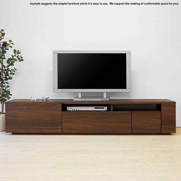 幅180cm ウォールナット色 和モダンテイスト 収納力があるシンプルモダンデザインのロータイプのテレビボード