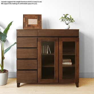Width 90 cm Walnut material Walnut solid wood natural wood glass doors movable shelf simple modern design side Cabinet sideboard chest ornament shelves EMA-SB 90 W shop limited edition original settings