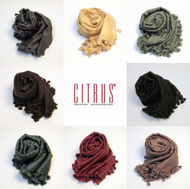 【CITRUS シトラス】AW/秋冬ストール 無地18カラー ウール・シルクのポンポンストール<CITRUSストール公式ショップ>【送料無料】
