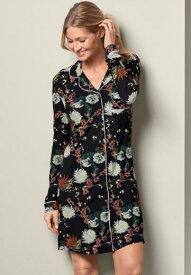 ワンピース ルームウエア シャツワンピースボタンシャツ 部屋着 襟付きシャツ 長袖 花柄シャツナイトウエア ナイトドレス ショート丈 ネグリジェスリープドレス 寝巻 かわいい セクシーボタンフロントスリープシャツ