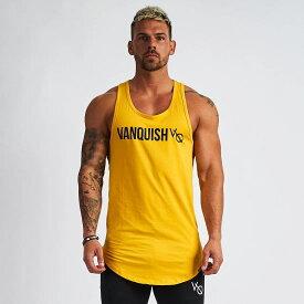 VANQUISH FITNESS ヴァンキッシュフィットネスメンズタンクトップ 黄色 きいろ ノースリーブ ストリンガー無地 メンズトップス ジムタンクトップ ジムウエア スポーツウエアトレーニングウエア メンズファッショントリンプロングラインタンク【イエロー】