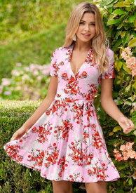 ワンピース 花柄 お花 半袖ワンピース Vネック ピンクミニワンピース ひざ丈スカート ミニスカート ショート丈ビーチウエア ビーチドレス サマードレス リゾートワンピースリゾートウエア おしゃれ かわいい セレブフローラルドレス