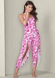 ルームウエア 上下セット パジャマ セットアップ部屋着 キャミソール ピンク 花柄 お花 ノースリーブロングパンツ スリット 長ズボン 寝巻 ナイトウエアスリープウエア 寝具 おしゃれ かわいい セクシープリントスリープセット