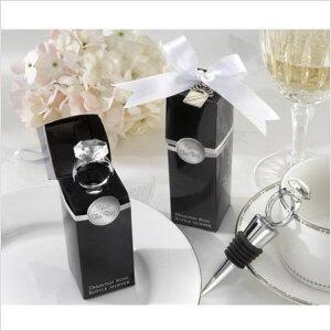 ワインボトルストッパー 装飾 ダイヤモンドリング クローム プレゼント 結婚式 ギフトに最適 【送料無料】通常納期2週間〜