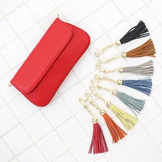 Tassel leather bag charm
