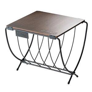 ロゴス(LOGOS) ワイド薪ラックウッドテーブル 81064183 天板:ブラウン 脚:ブラック (約)幅40×奥行37×高さ36cm