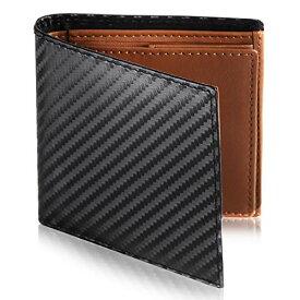 [Le sourire] ミニマリスト 二つ折り 財布 ビジネスマンの本革財布 極小×機能性 メンズ (ブラック×ブラウン)