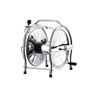 散水 ステンレス製 ステンレスリール ステンレスホースリール(ドラム) SH-S ガーデニング 用品 ホース巻き取り 潅水用具 丈夫 同梱不可