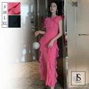 【送料無料】パーティードレス 全2色 ロング丈 フリルワンピース ロングドレス フリルスリーブ ブラックドレス きれいめ 華やかおしゃれ 大人セクシー S M L XL 大きいサイズ 大人可愛い JS