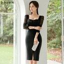 【送料無料】パーティードレス スクエアネック 異素材切替ワンピース シースルー ミディアム丈 袖あり きれいめ ブラックドレス 華やかおしゃれ 大人セクシー S M L XL 大きいサイズ 大人可愛い