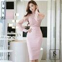 パーティードレス 2色 パールネックレス付 シースルーレース切替ドッキングワンピース 長袖 ミディアム丈 ブラックドレス ピンク きれいめ 華やかおしゃれ 大人セクシー S M L XL 大きいサイズ