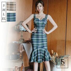 セットアップ 2色 ドレス風チェック柄上下セット トップスとスカート マーメイドライン ノースリーブ ミディアム丈 きれいめ 華やかおしゃれ 大人セクシー S M L XL 大きいサイズ 大人可愛い JSファッション【4月新作】
