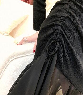 【今だけ送料無料】ワンピース2色裾フリルシフォンフリルスキッパーニットワンピースクルーネックブラックアイボリー長袖パーティードレスきれいめ華やかおしゃれ大人セクシーフリーサイズ大人可愛いJSファッション【190402】【4月新作】