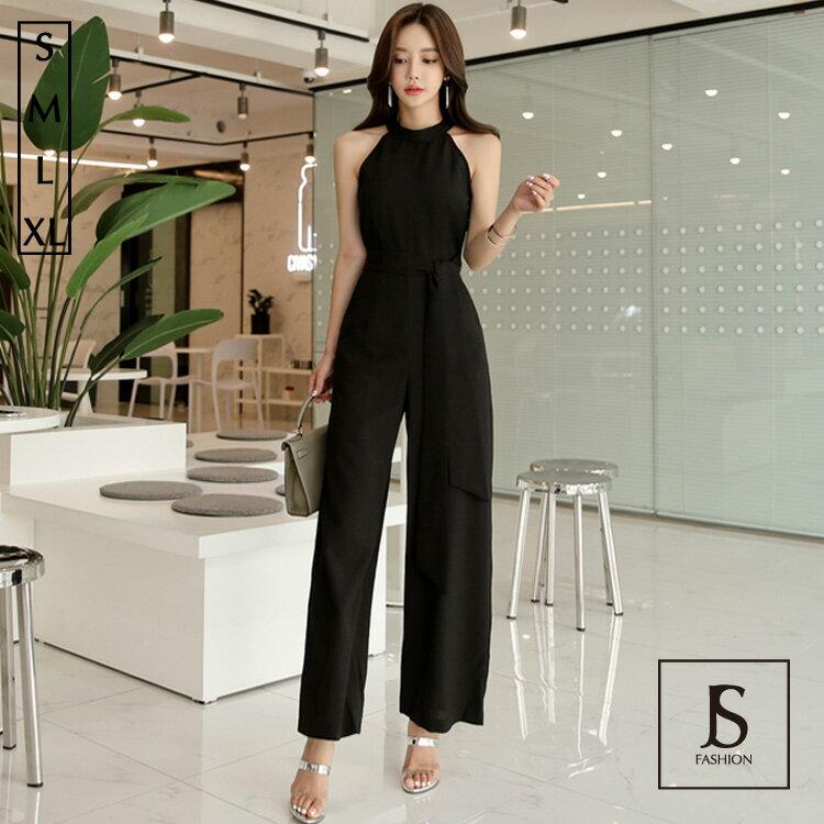 オールインワン アメリカンスリーブ ウエストリボン ロングパンツ パンツドレス ノースリーブ ロング丈 ブラックドレス きれいめ 華やかおしゃれ 大人セクシー S M L XL 大きいサイズ 大人可愛い JSファッション【4月新作】