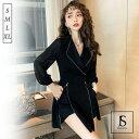 【送料無料】ショートパンツ付き フロントジップワンピース シフォン袖 異素材切替 ブラックドレス ショート丈 パンツドレス 秋冬 袖あり きれいめ 華やか 大人セクシー S M L XL 大きいサイズ