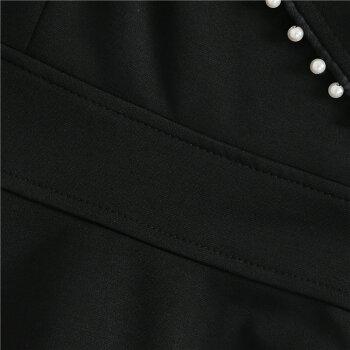 【今だけ送料無料】パーティードレス2色シースルー襟付きミニワンピースAラインフレアワンピバイカラーブラック成人式二次会ショート丈長袖きれいめ華やかおしゃれ大人セクシーSMLXL大きいサイズ大人可愛いJSファッション【191226】【12月新作】