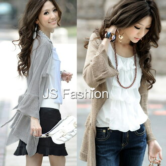 Flare sleeve, the knit cardigan that a feeling of flow rolling of the flare drape is gentle-looking