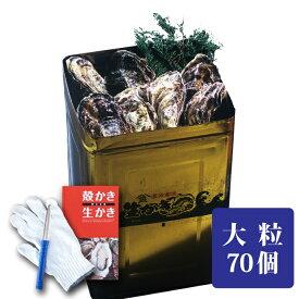 【おかちょく春フェス】 牡蠣 岡山産 3年もの 加熱調理用 殻付き牡蠣一斗缶 大粒 約70個 お徳用 殻付き かき 送料無料