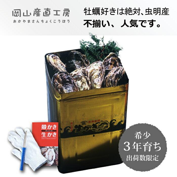 岡山産 3年もの 殻付き牡蠣一斗缶(不ぞろい・小粒あり)約100個^お徳用かき 送料無料