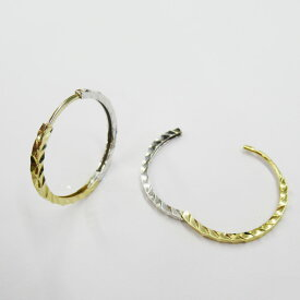 【Fashion SALE対象】K18YG/WG ピンキーリングピアス フープピアス コンビカラー 約1.6g(左右合計) 18金 ゴールド ホワイトゴールド
