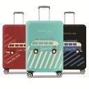 旅行用品 バスタイプ スーツケースカバー ヒッピーBUS S M L XL 18-20/22-24/26-28/30-32インチ対応/擦り傷 保護 汚れ…