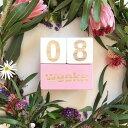 ウッド製 記念日月齢年齢撮影用カード キューブ/ベビーマンスリーカードフォト/赤ちゃんマンスリーフォト新生児写真撮…