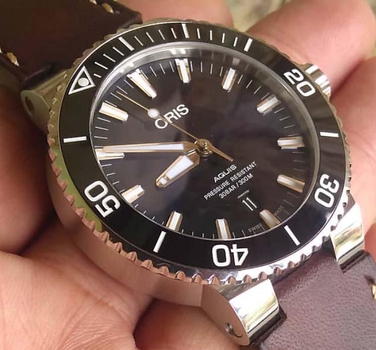 オリスジャパン正規3年保証 ORIS オリス腕時計 メンズ ウォッチ アクイスダイバーズ皮ベルト仕様です 自動巻き ダイバーズウオッチ 733.7730.4134Fギフト 人気 ラッピング無料 あす楽対応